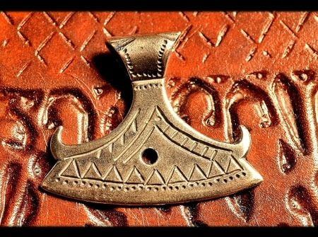 BEARDED AXE OF PERUN, BRASS SLAVIC PENDANT