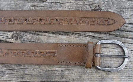 DECORATED LEATHER BELT WITH FORGED BUCKLE