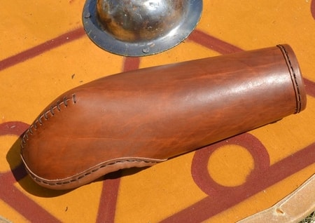 LEATHER BRACER WITH ELBOW PROTECTION, THICK LEATHER