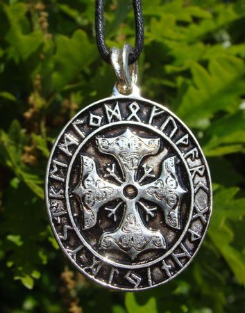 THOR CROSS, silvered doublesided amulet