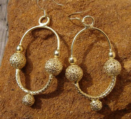 SLAVIC EARRINGS, GREAT MORAVIA, gold plated