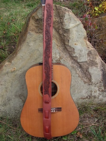 Hand Tooled Leather Guitar Strap