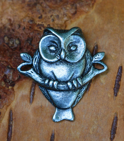OWL ON BRANCH, AMULET, TIN