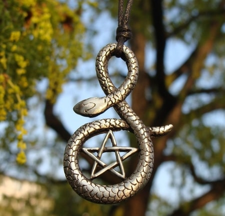PENTACLE and the SNAKE, pewter pendant