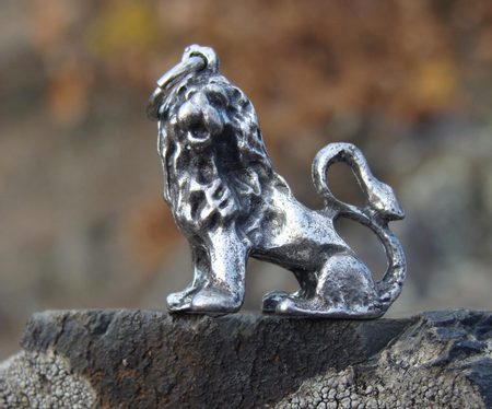 LION, The King of the Animals, pewter pendant