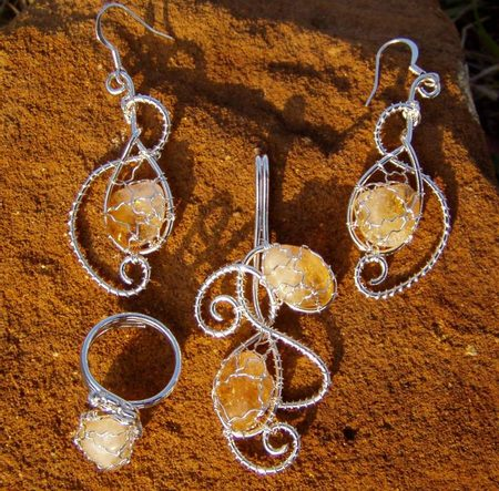 Silvered Citrine Set