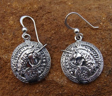 CELTIC UNICORNS, silver earrings, UNICRON JEWELLERY