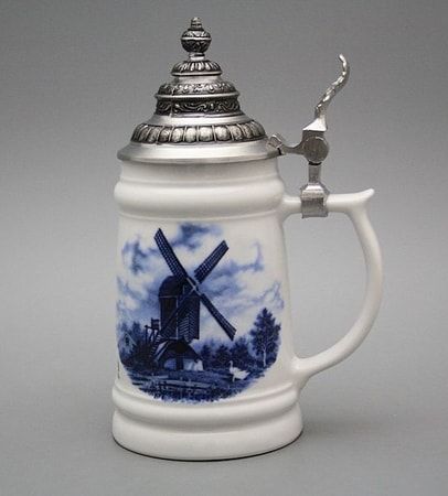 Tankard with tin lid, WINDMILL, Karlsbad porcelain