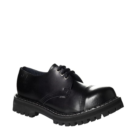 LEATHER BOOTS STEEL BLACK 3-EYELET-SHOES