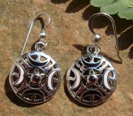 FIRE MOON PENTACLE, silver earrings, Ag 925