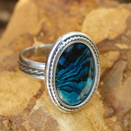 ANTICA, SILVER RING AND PAUA SHELL