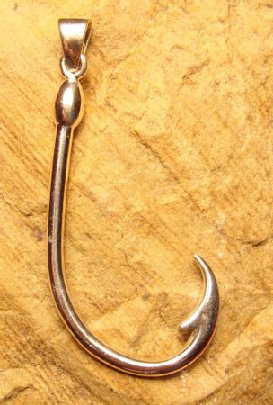 Fish hook silver pendant for Silver fish hook necklace