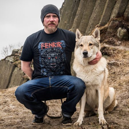 FENRIR ON THE HUNT RED, MEN'S VIKING T-SHIRT