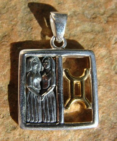 GEMINI, The Twins, silver pendant