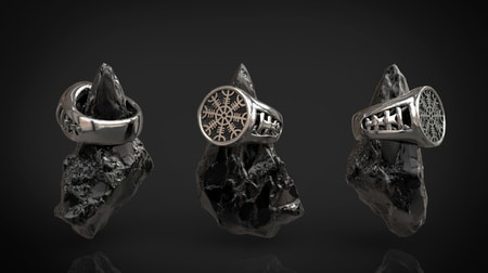 Aegishjálmur - Helm of Awe, Viking Ring, silver