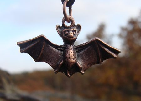 THE BAT, pewter pendant, coppered