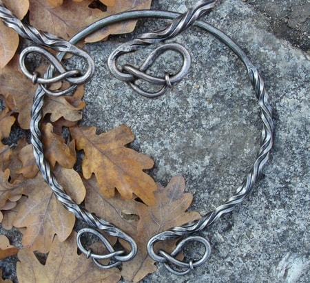 HAND FORGED IRON TORC, knotted