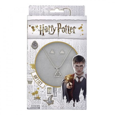 HARRY POTTER, DEATHLY HALLOWS, EARRINGS AND NECKLACE