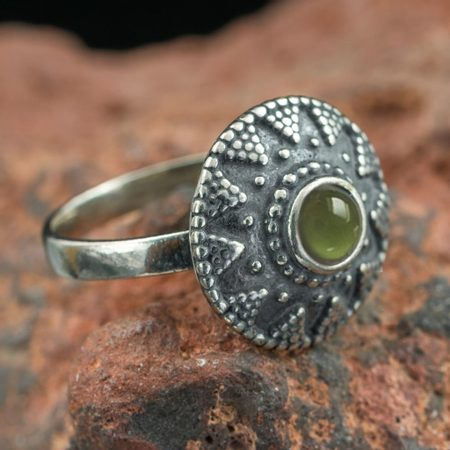SLAVIC RING WITH MOLDAVITE, SILVER
