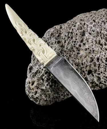 FLÓKI, Viking Knife, antler, damascus steel