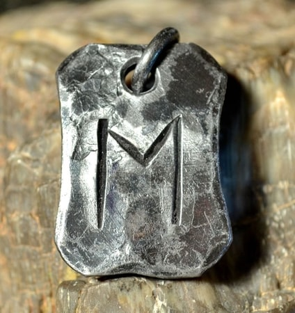 EHWAZ, forged iron rune pendant