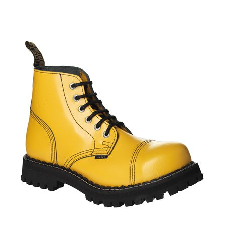 Leather boots STEEL yellow full 6-eyelet-shoes