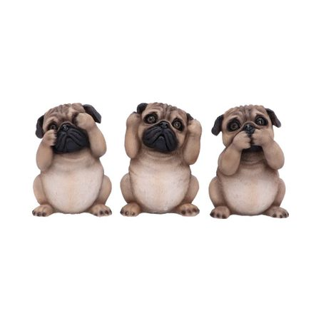 THREE WISE PUGS 8.5CM