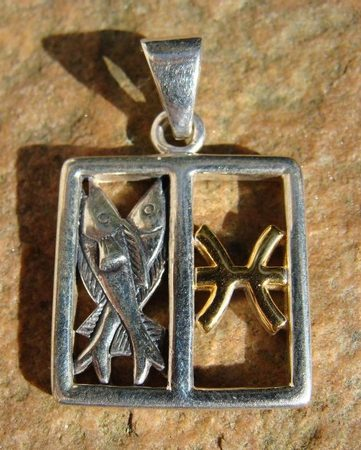 PISCES, The Fishes, silver pendant