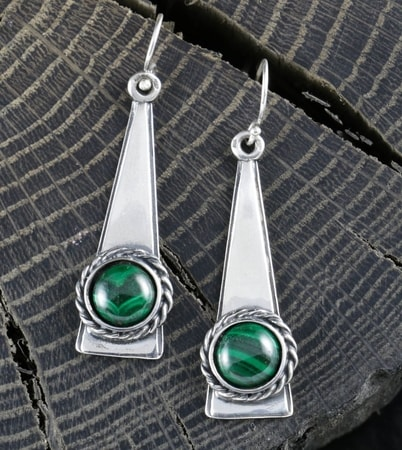 TRIANGLE - Malachite, earrings, silver
