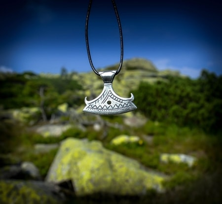 BEARDED AXE OF PERUN, silver Slavic pendant