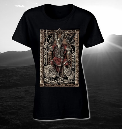 ODIN ON THE THRONE, LADIES' VIKING T-SHIRT