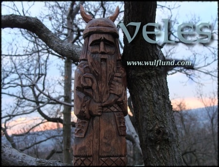 VELES, SLavic God, hand carved wooden statue