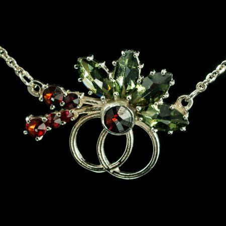 ORCA, Moldavite, Garnet, Czech jewel, necklace