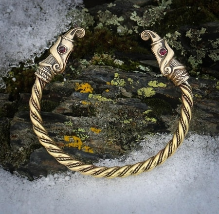 Huginn and Muninn, Viking Bracelet, brass