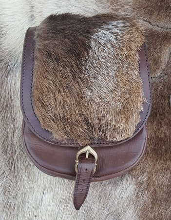 LEATHER BELT BAG WITH FUR, brown
