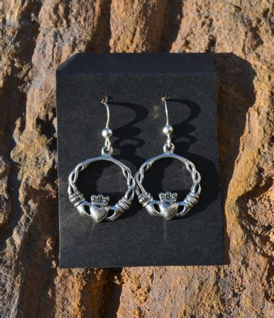 IRISH CLADDAGH EARRINGS, silver earrings Ag 925