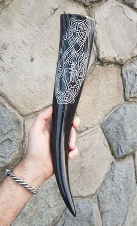 INFINITY, Drinking Horn with Carved Decoration, 0.4 l