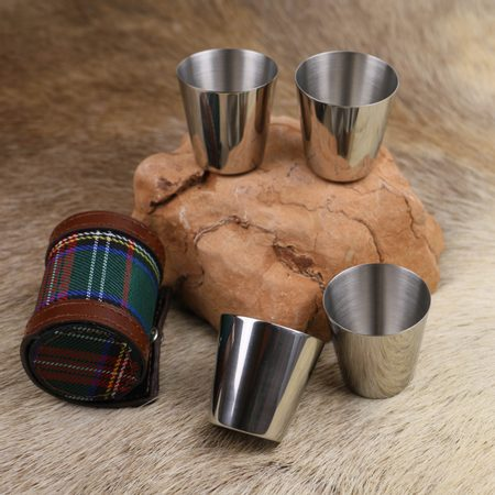 LIKE A GENTLEMAN - SET OF 4 X STAINLESS SHOT GLASSES