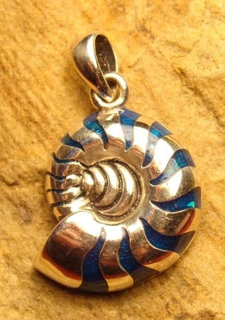AMMONITES, silver pendant with Paua Shell