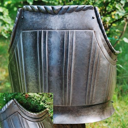 CUIRASS, breast plate 1,5 mm with patina
