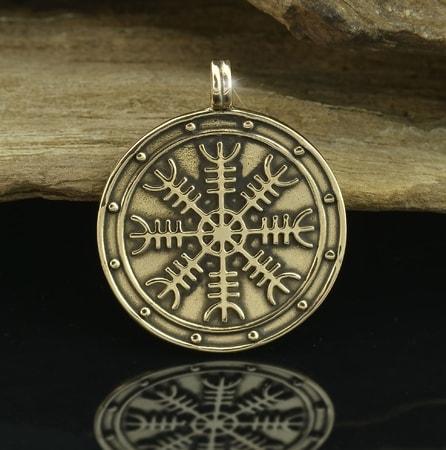 Aegishjalmur helm of awe icelandic magical rune medallion aegishjalmur helm of awe icelandic magical rune medallion bronze aloadofball Images