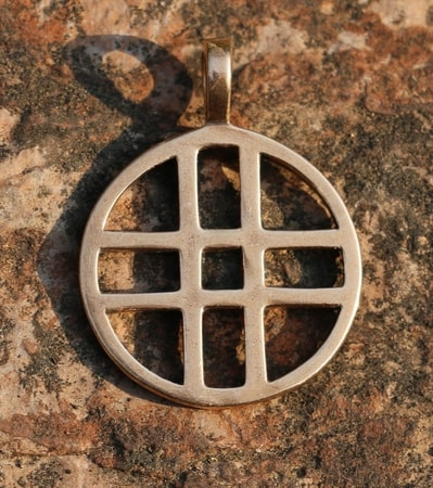 DOUBLE CROSS, bronze pendant