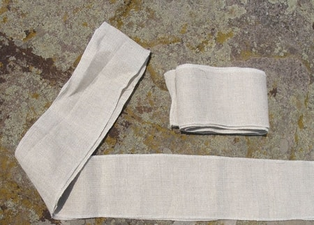 LINEN SHOE BELTS for viking or Slavic costume, pair