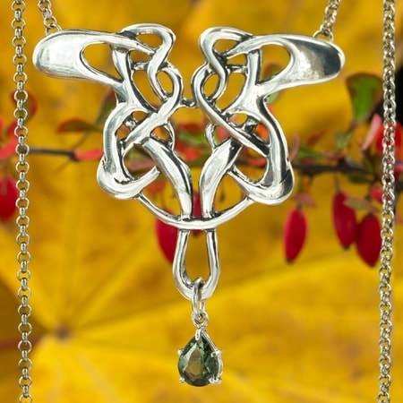ART NOUVEAU, silver necklace, moldavite