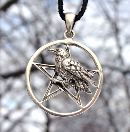 PENTACLE WITH RAVEN, silver pendant