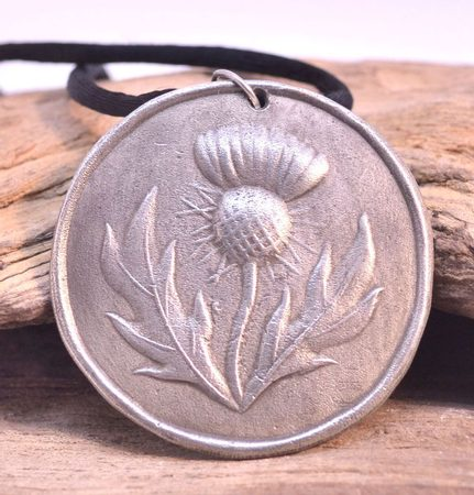 THISTLE OF SCOTLAND, tin pendant
