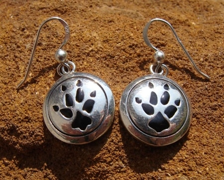 WOLF TRACK, silver earrings, Ag 925