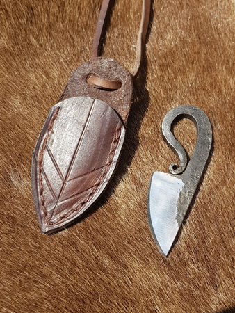 NECK KNIFE WITH LEATHER SHEATH, FORGED