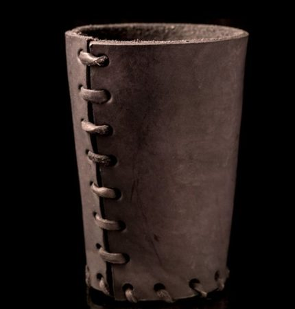 LEATHER DICE CUP BROWN