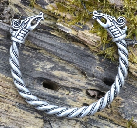 DREKI, viking bracelet, silver plated tin